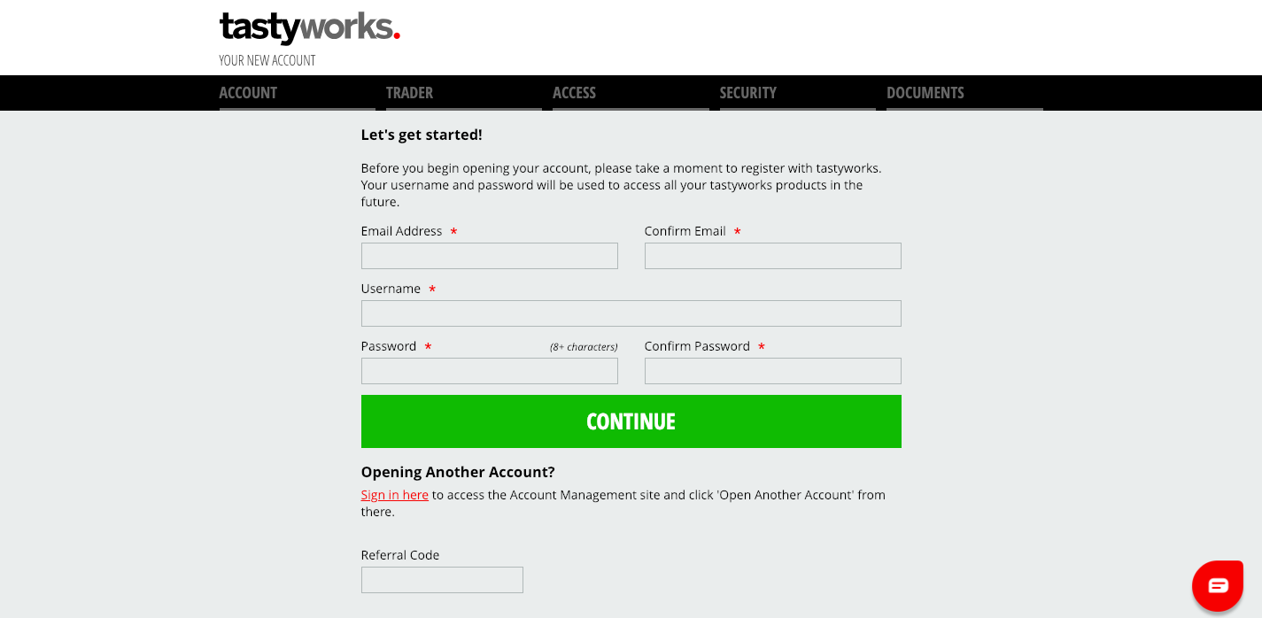 tastyworks account opening