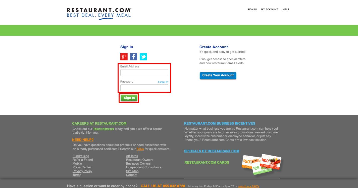 Restaurant com Sign In