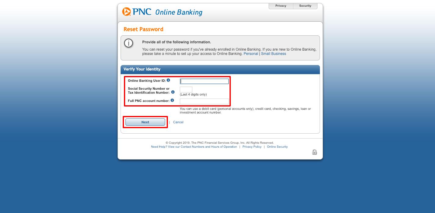 pnc login personal banking