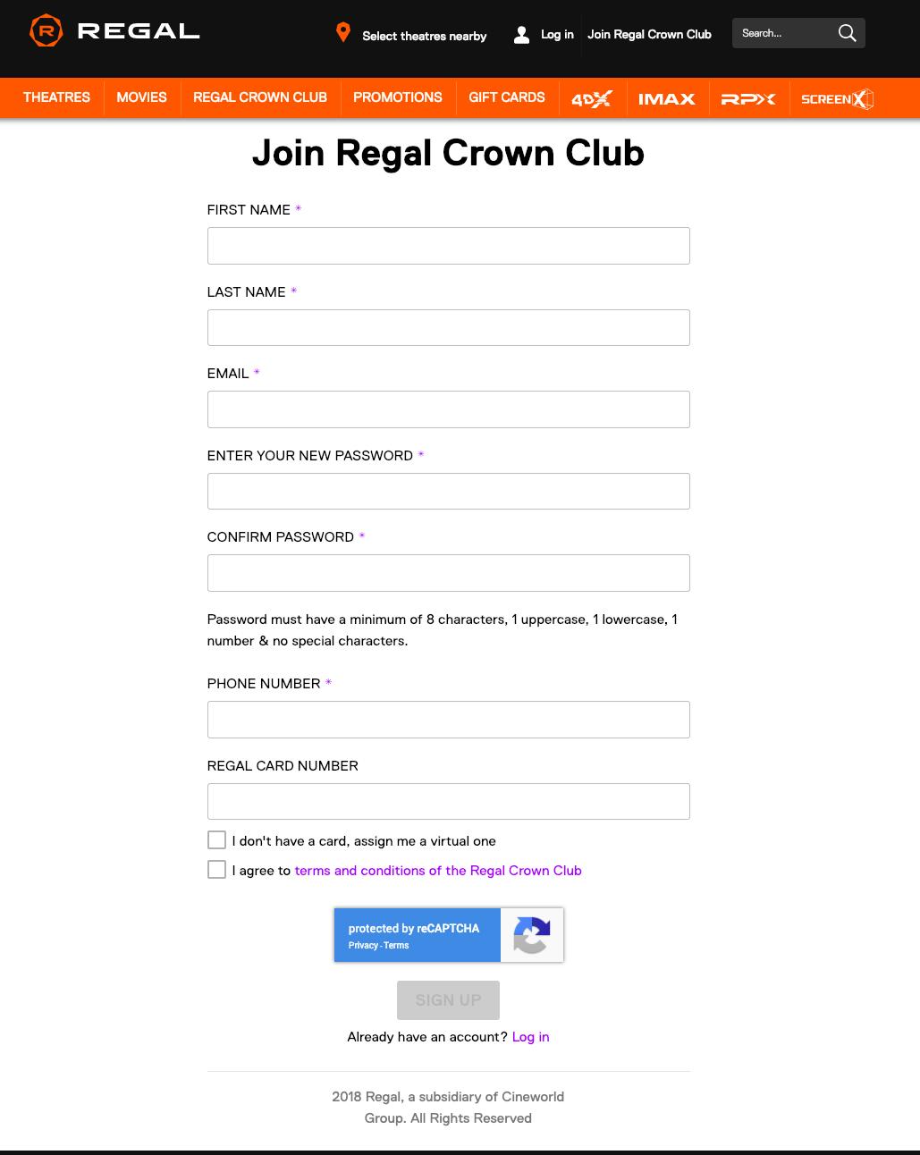 regal crown club sign up