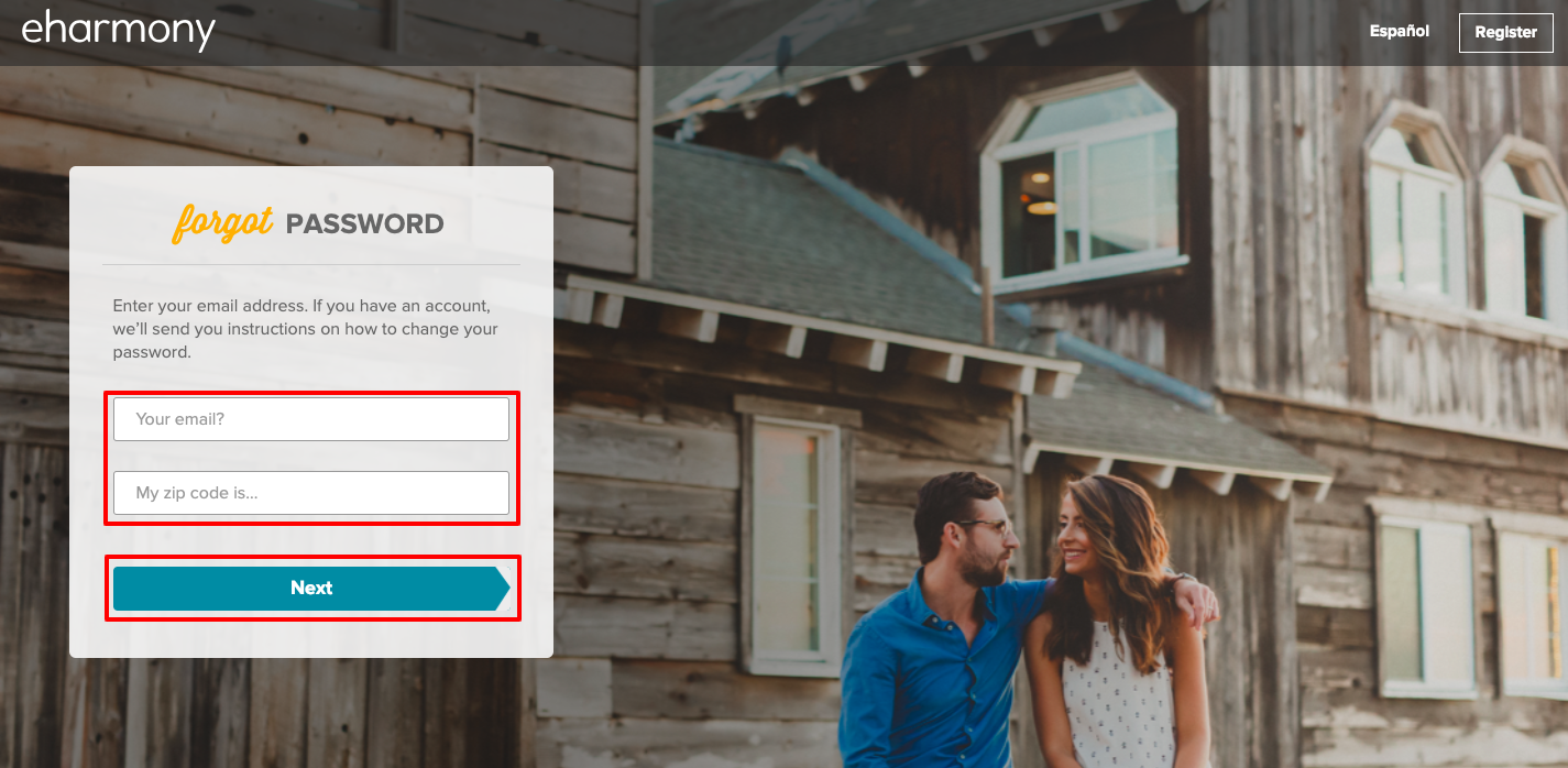 EHarmony Login Procedure