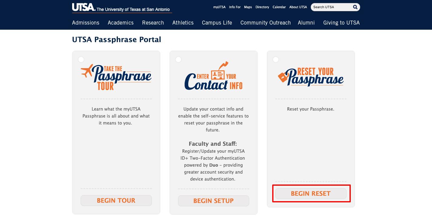 UTSA Passphrase Portal