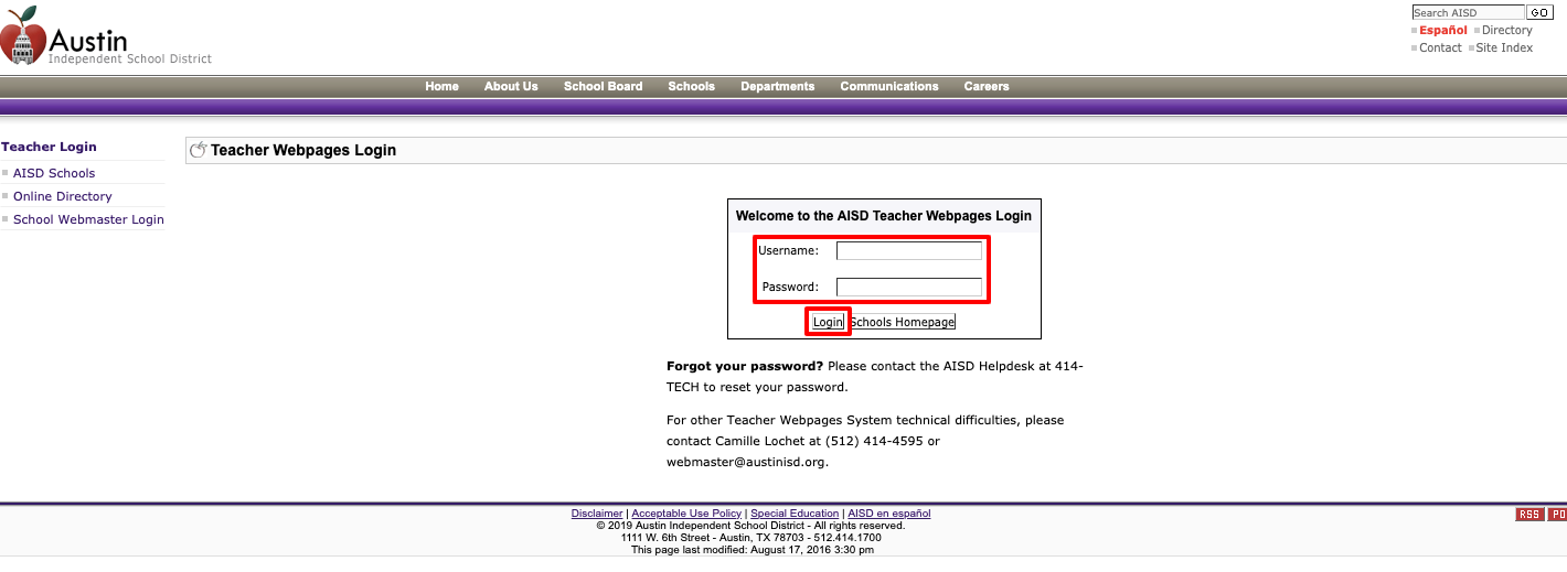 AISD Teacher Webpages Login