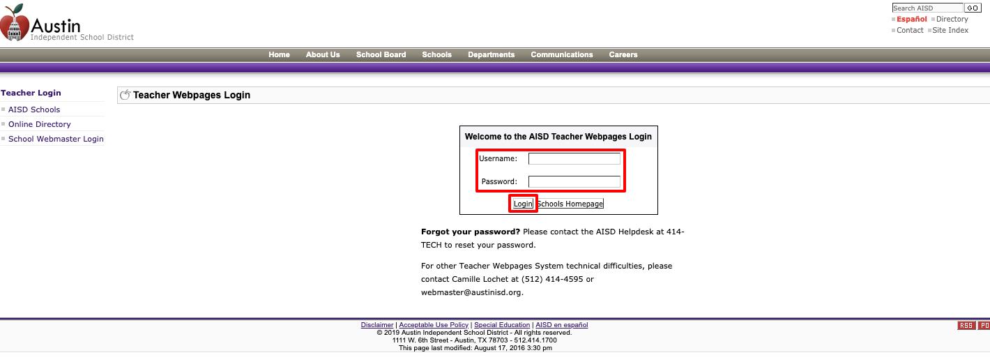 AISD Teacher Webpages Login