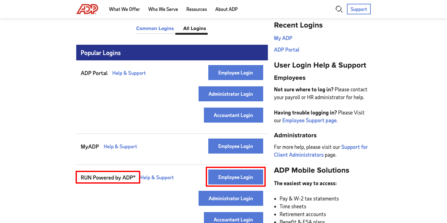 ADP RUN Employee Login