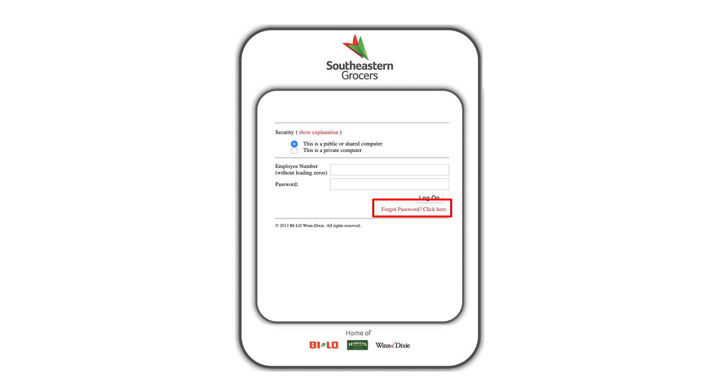 Southeastern Grocers forgot password