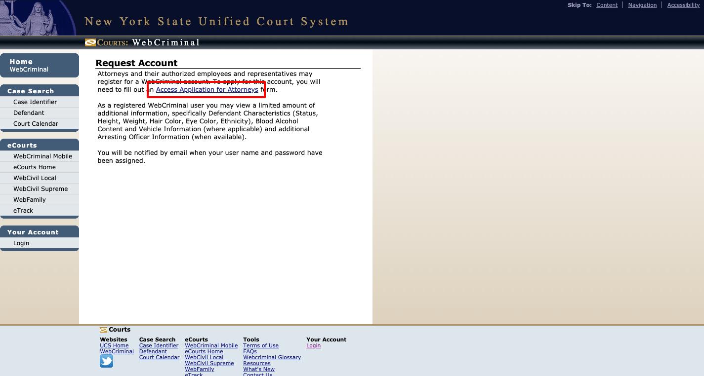 WebCriminal Account Registration