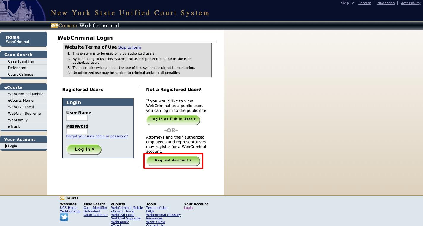 WebCrims Account Registration