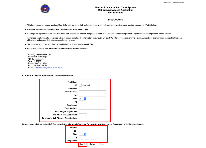 WebCrims Register