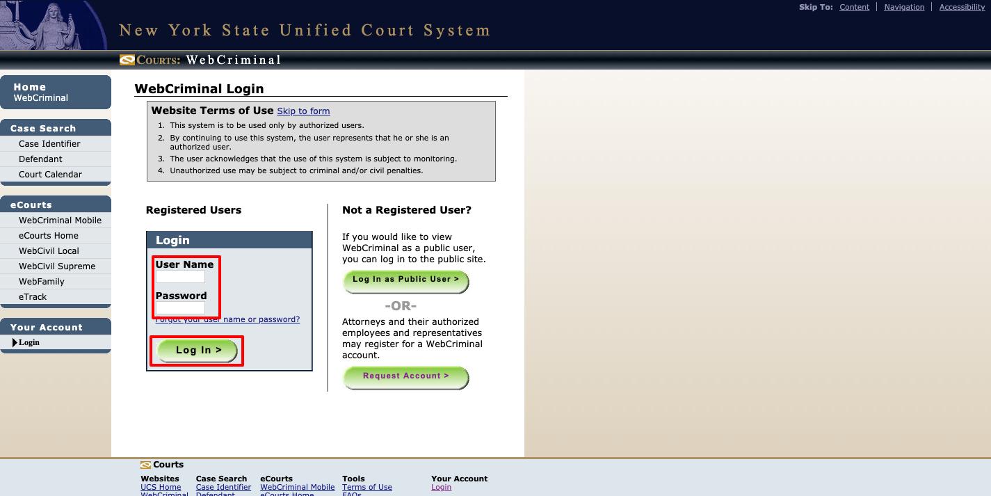 WebCrims login