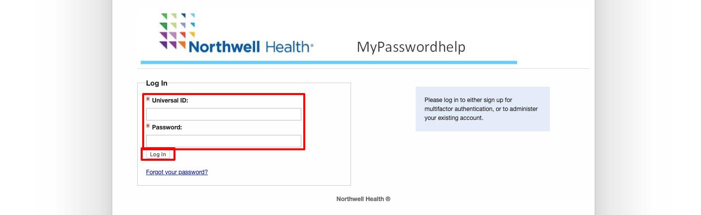 northwell health change password