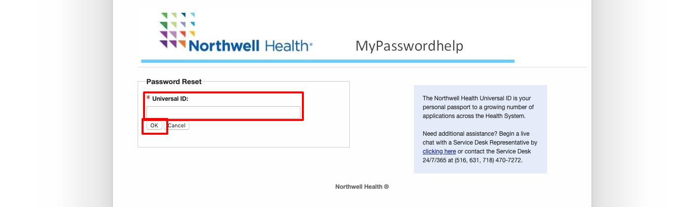 northwell health password reset