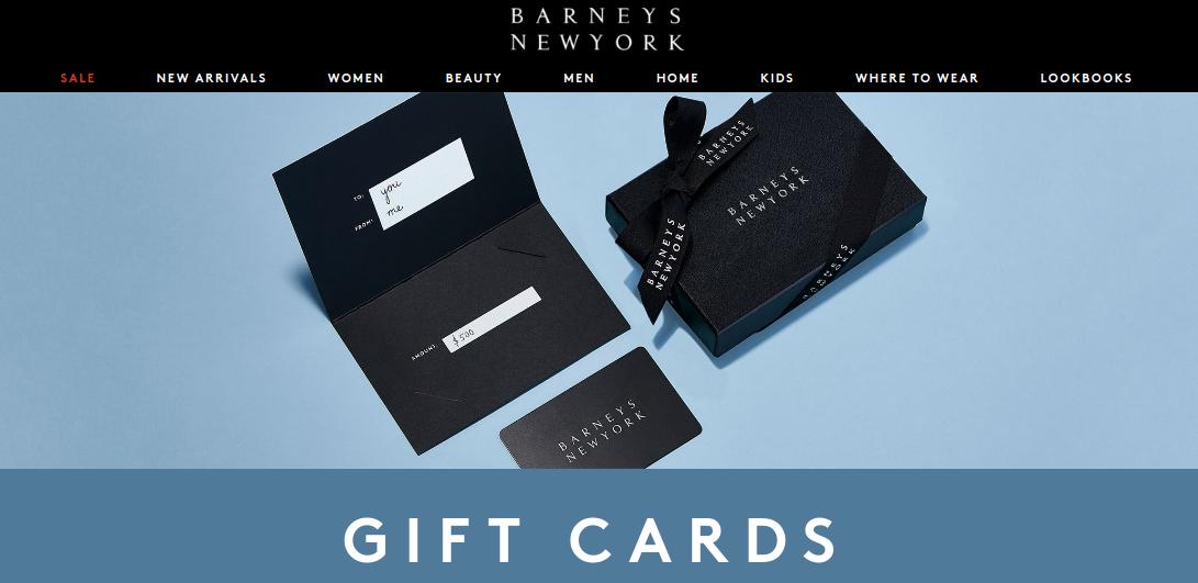 Barneys New York gift card logo