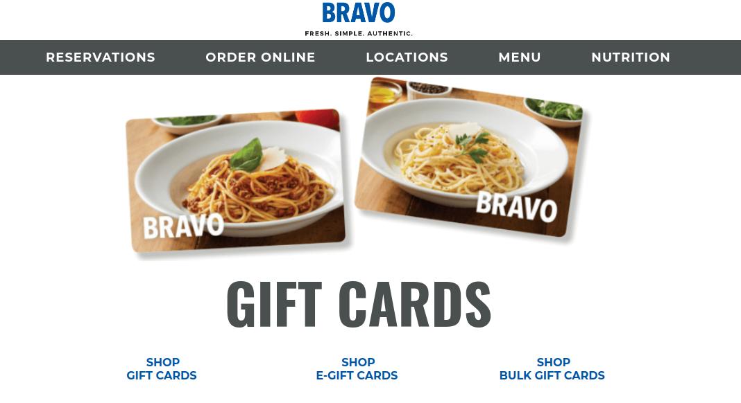 BRAVO Cucina Italiana Gift Cards Logo