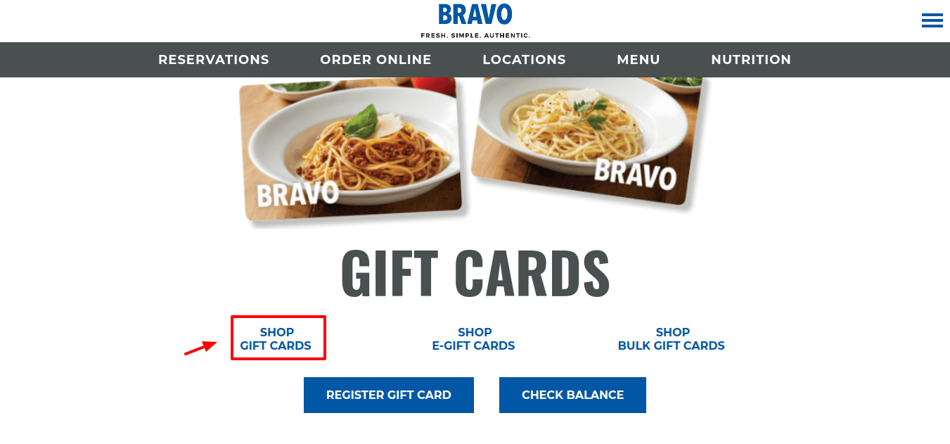 BRAVO Gift Cards Shop
