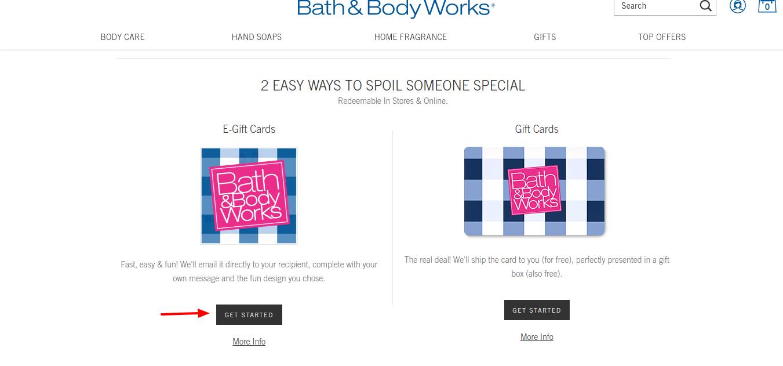 Bath Body Gift Cards