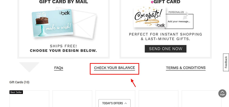 Check belk Gift Card Balance