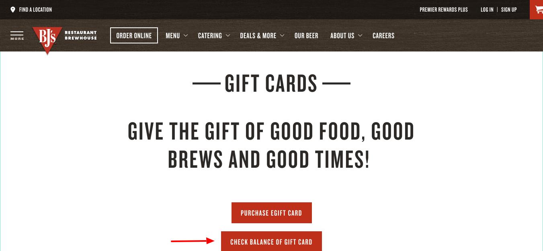 BJ s Restaurants Gift Card Balance Check