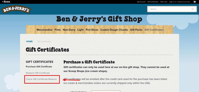 Ben Jerry s Gift Card Balance Check