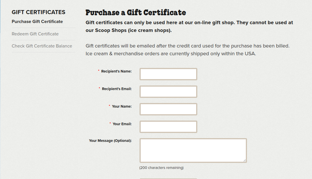 Ben Jerry s Gift Card Purchase