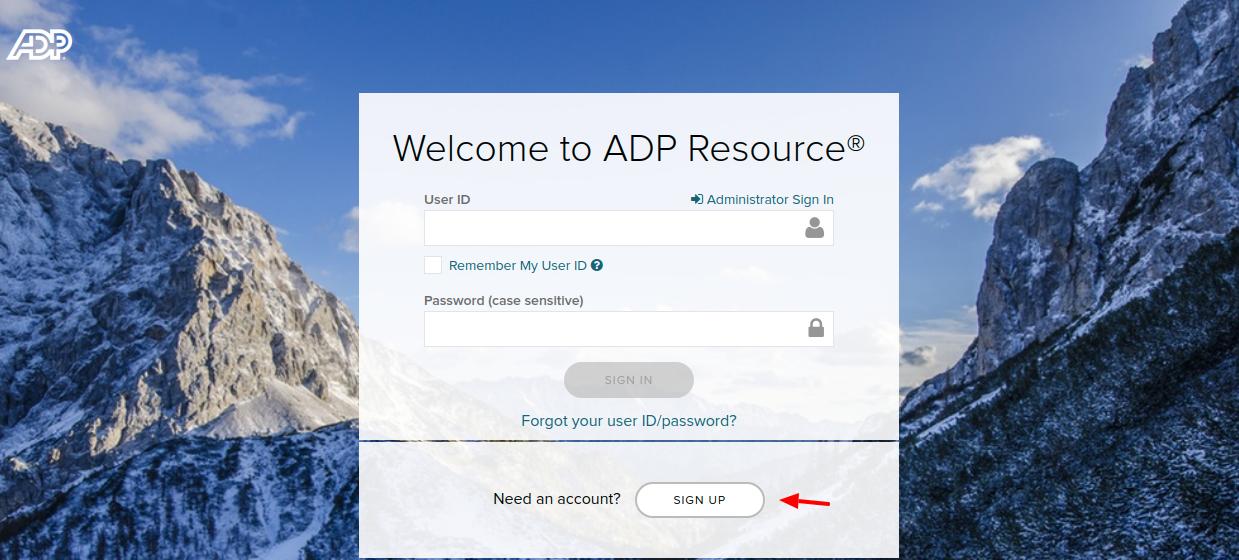 ADP Resource Sign Up