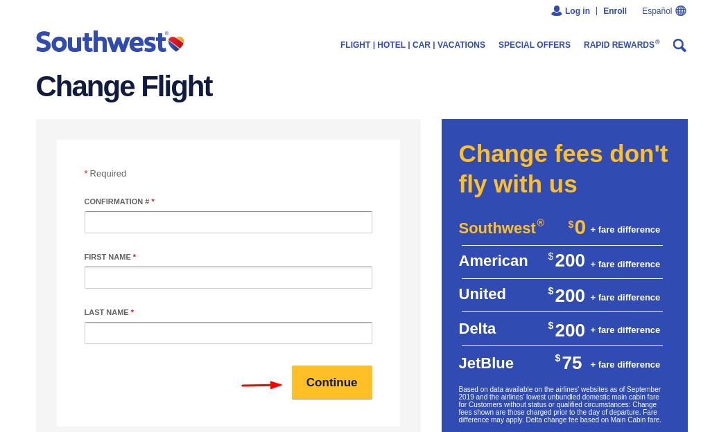 flight of Southwest Change