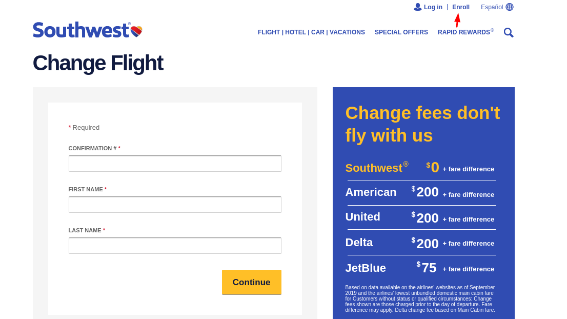 flight of Southwest Enroll