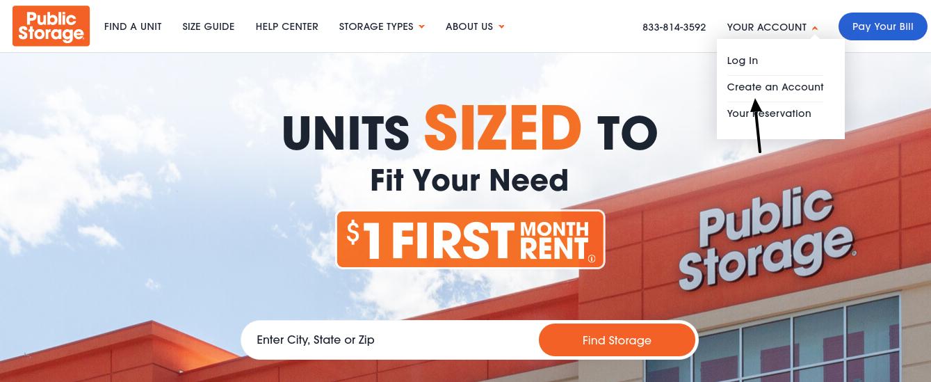 Public Storage Create Account