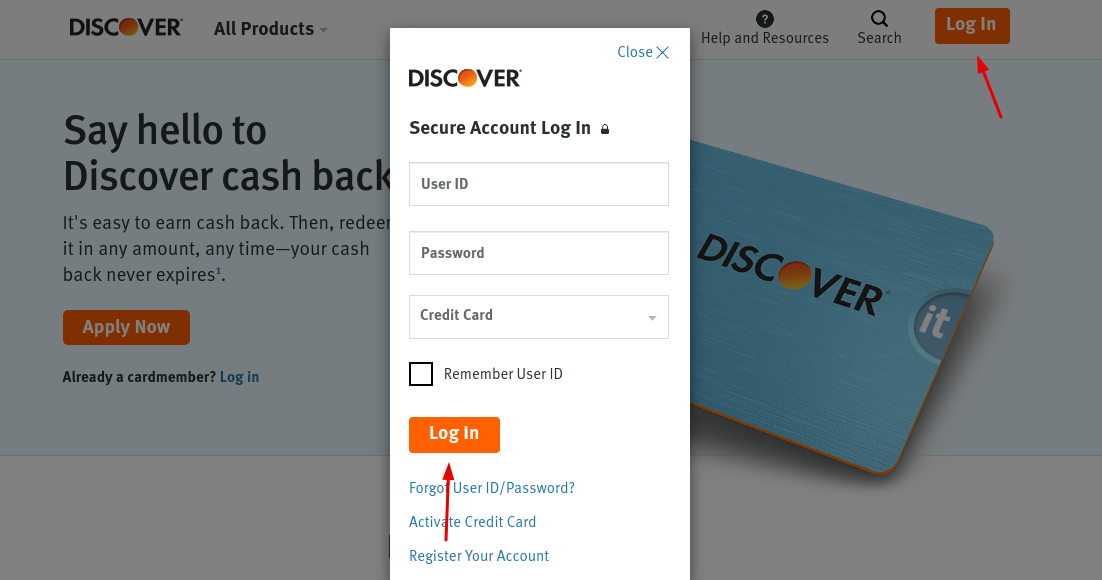 Gap Discover cash back card login