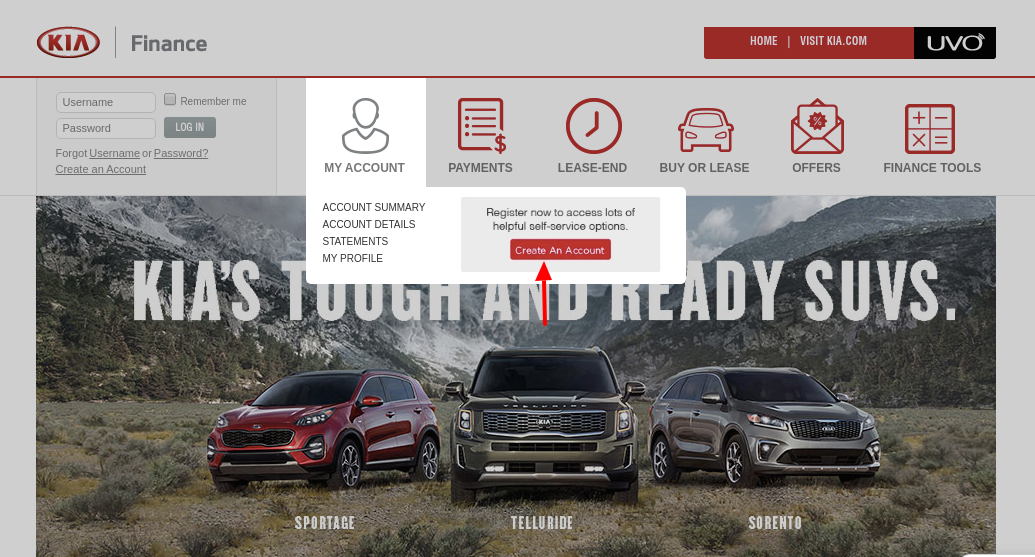 Kia Motors Finance Create Account