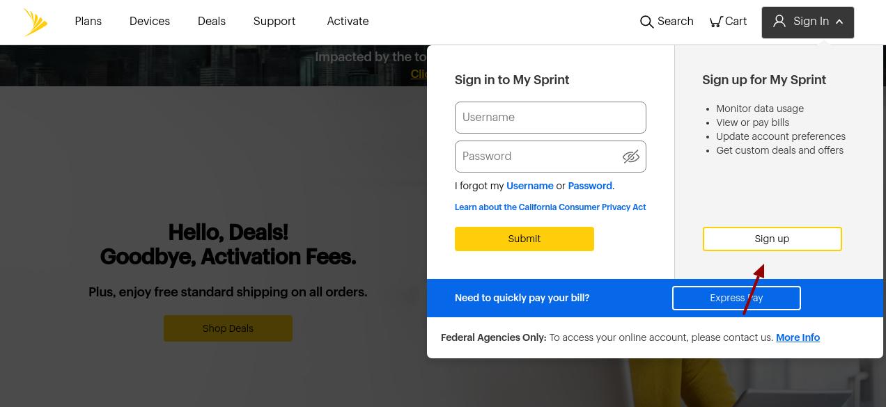 Sprint Sign Up