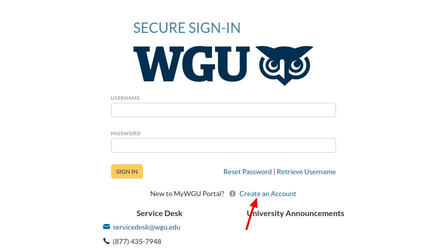 WGU Student Create Account