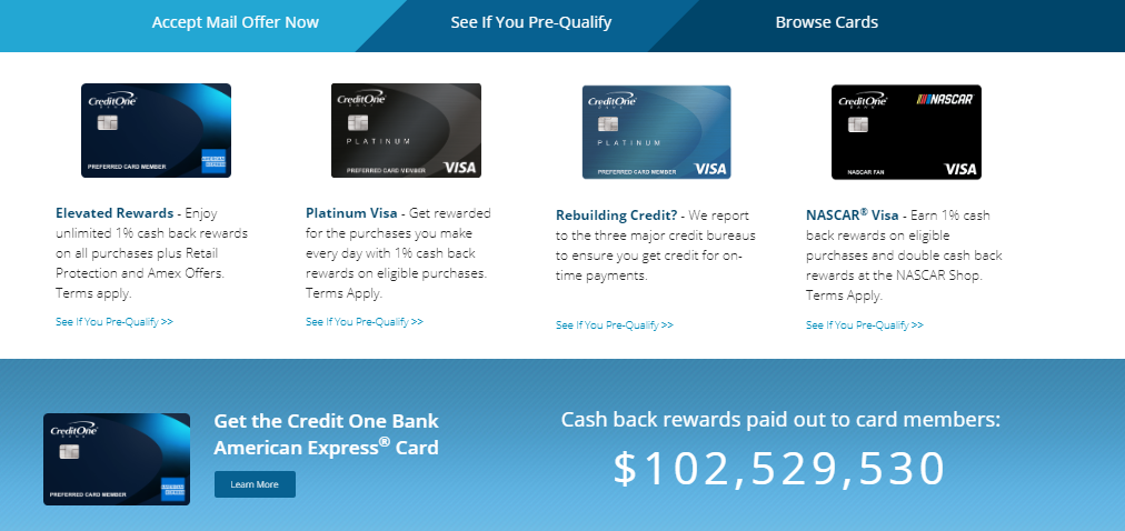 Pre qualify credit one card