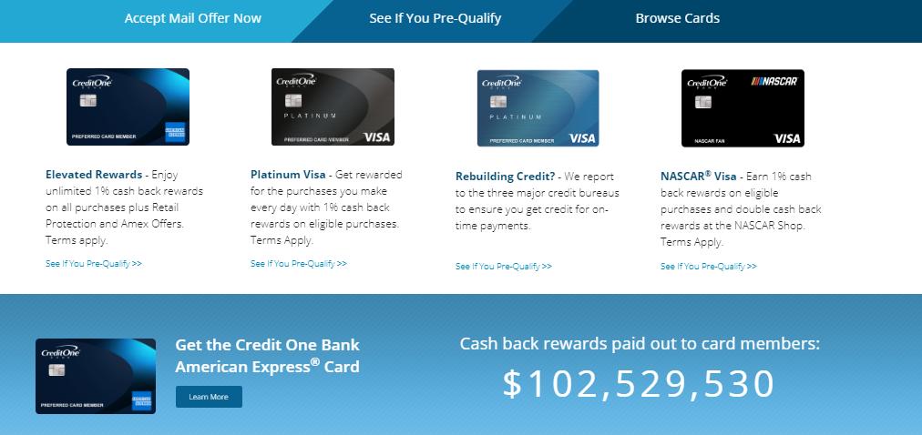 Pre qualify credit one card