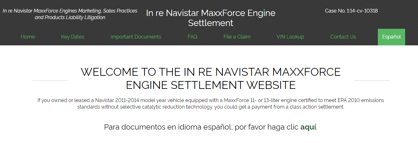 Navistar MaxxForce Engine lawsuit