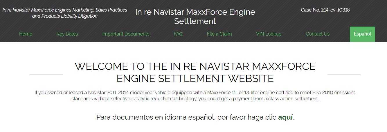 Navistar MaxxForce Engine lawsuit