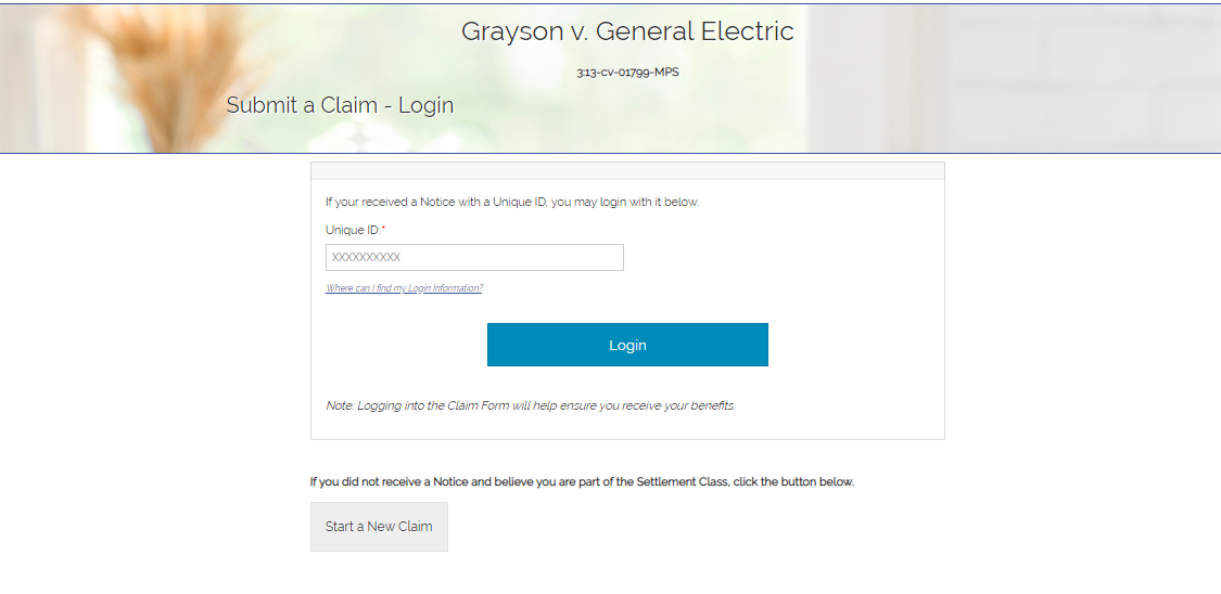 GE Electric Class Action settlement CLAIM
