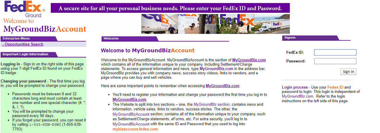 mygroundbiz account login