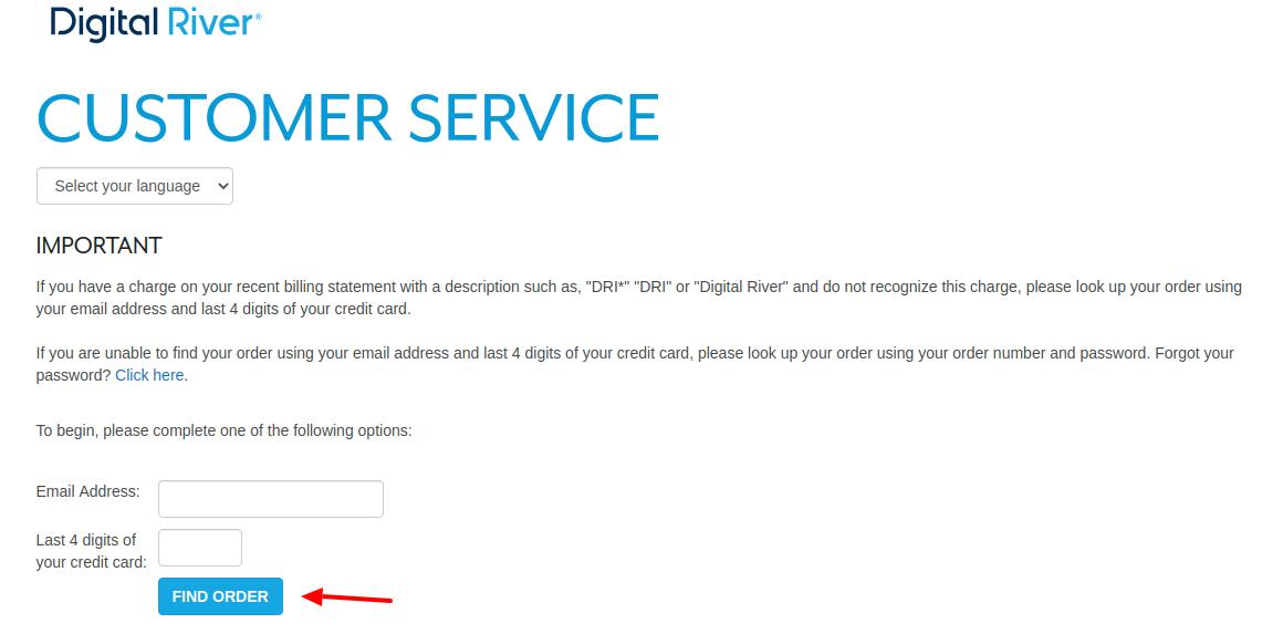 DigitalRiver Find Your Order