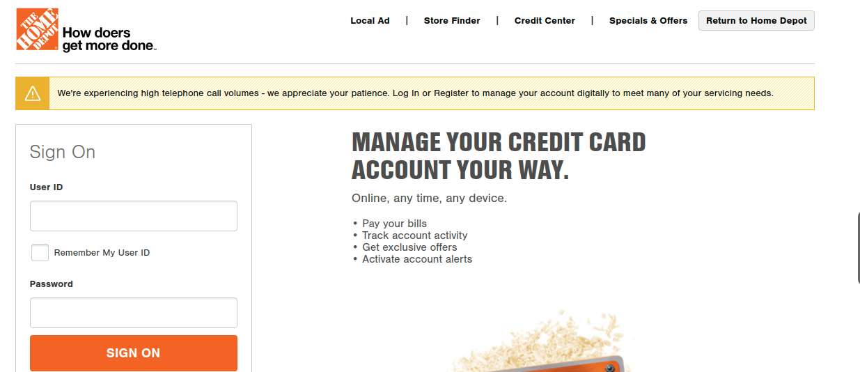 Home Depot Credit Card Log In
