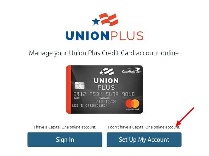 Union Credit Card Set Up Account