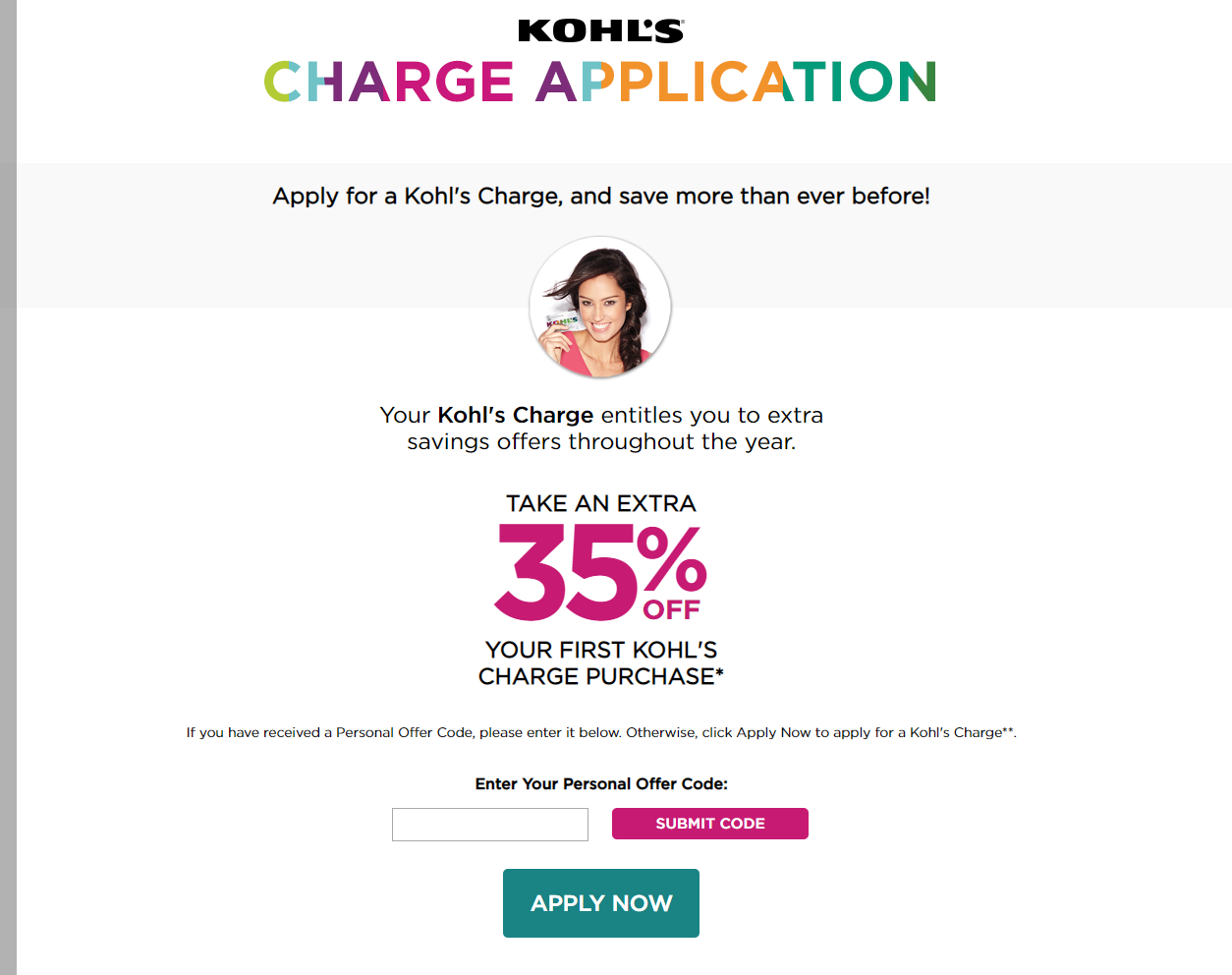 Apply for My Kohl's Charge card and Manage Online