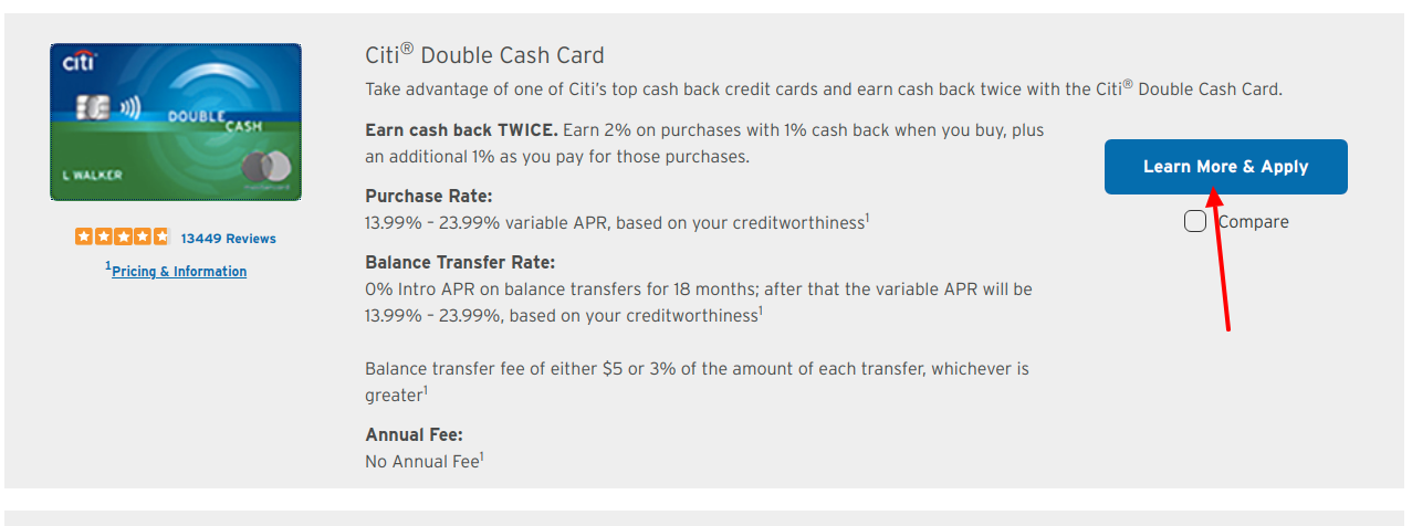 Citi CashBack Credit Card Apply