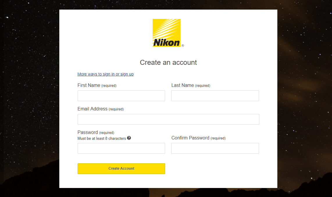 Enroll for Nikon Product Registration