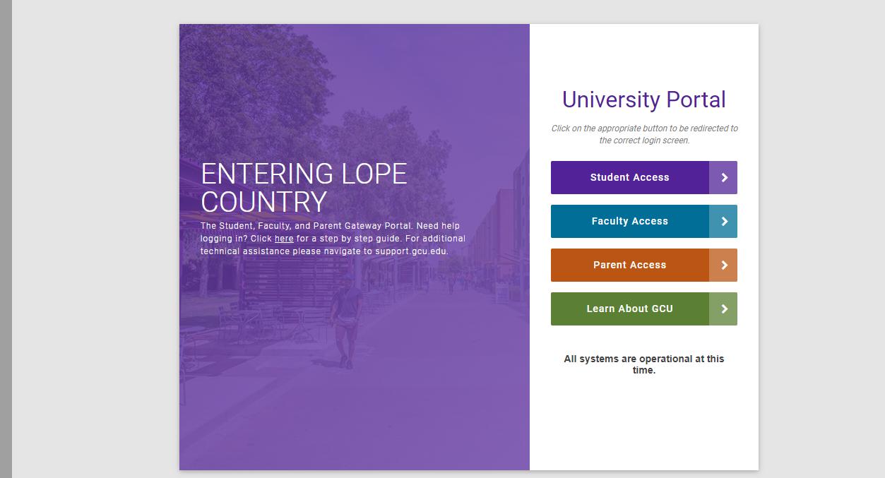 Grand Canyon University Student Portal login