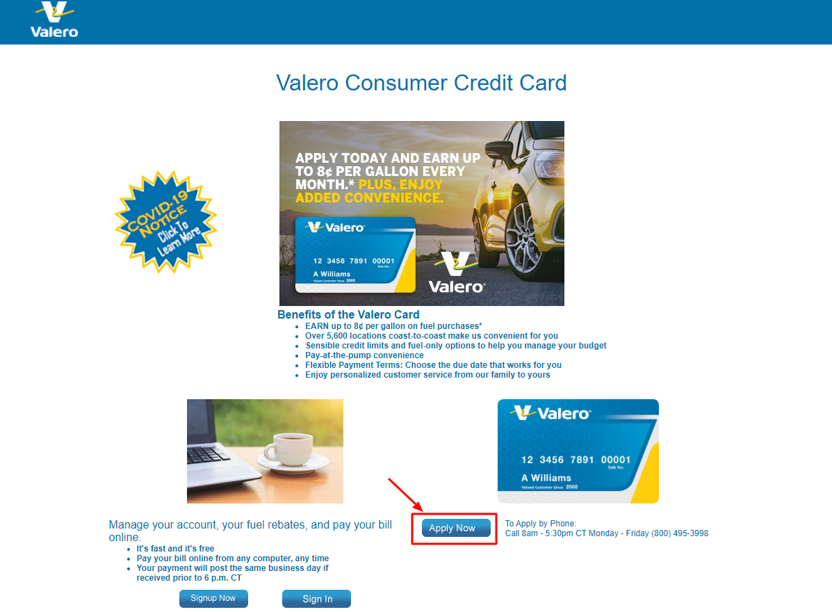 Valero Customer Credit Card Apply