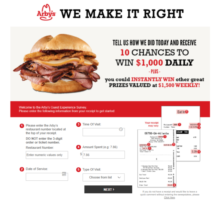 Arbys survey Method