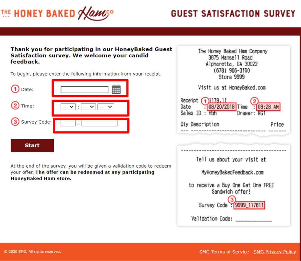 Honey baked Ham Survey portal