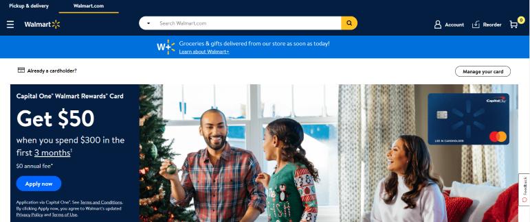 Walmart credit card account