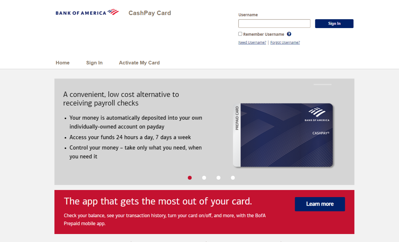 BankOf America cash Pay Card Activation